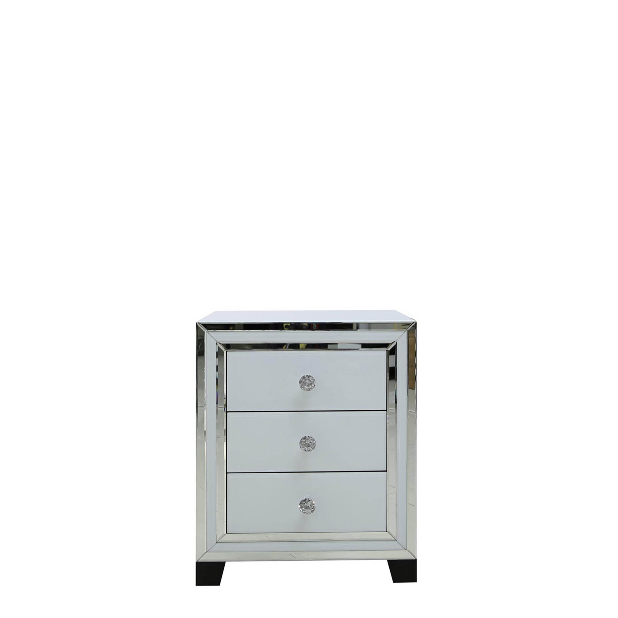 Madison 6 Drawer Cabinet White Clear Mirror Finish Mirrored