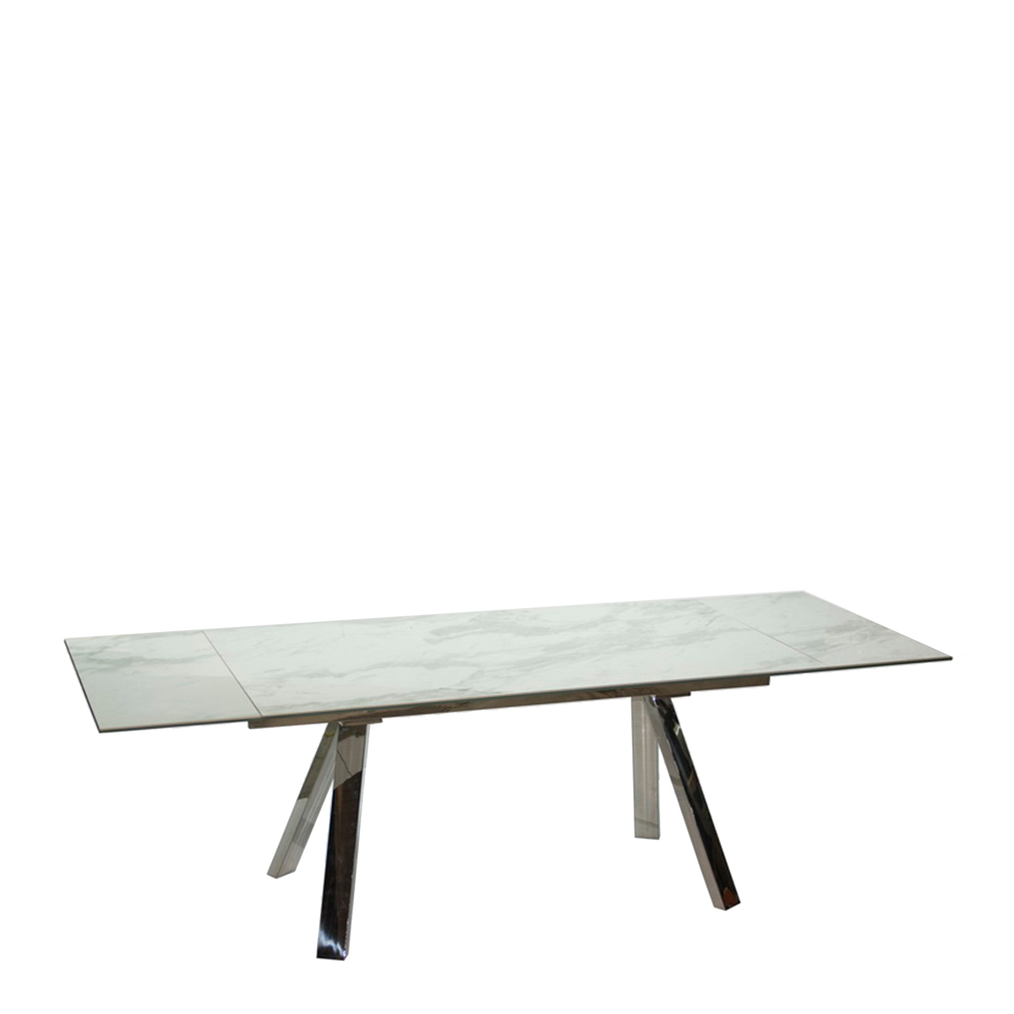 Cantania White Extending Marble Top Dining Table Fishpools