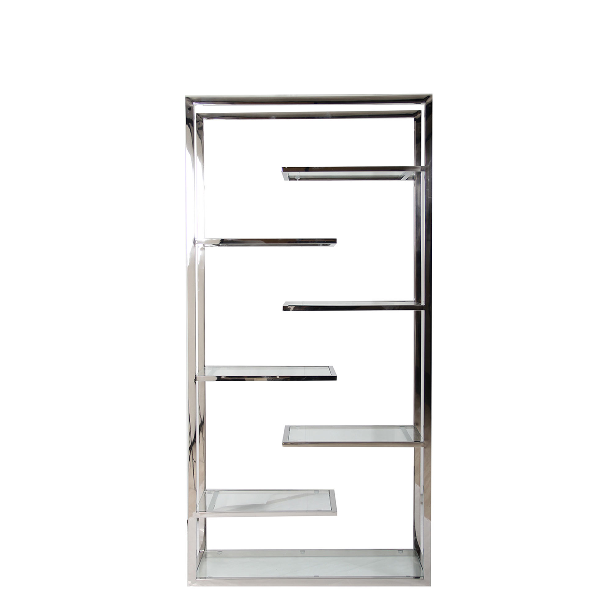 Trento Tall Clear Glass Bookcase Fishpools