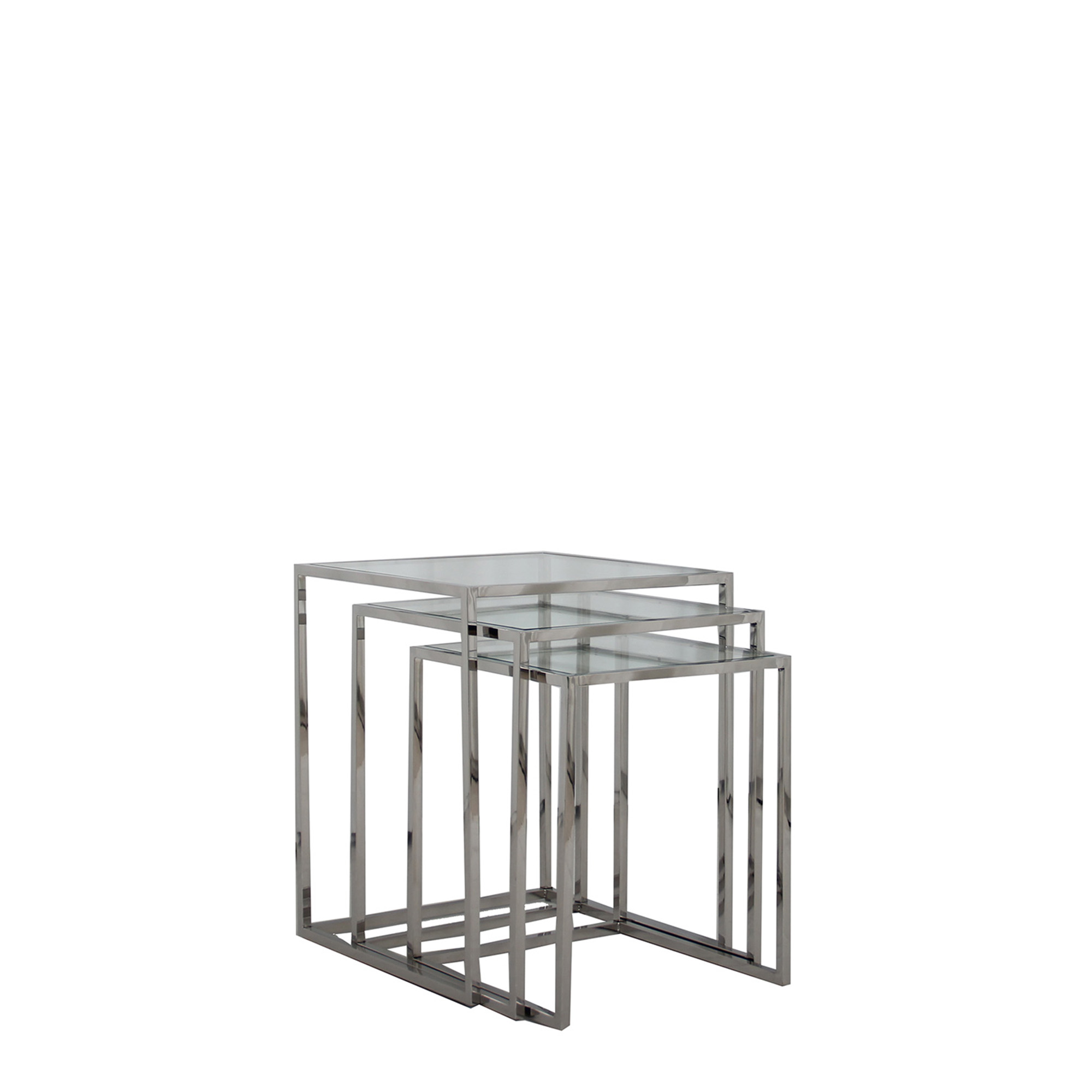 Trento Nest Of Three Tables With Clear Glass Top Stainless Steel Legs Nest Of Tables Fishpools