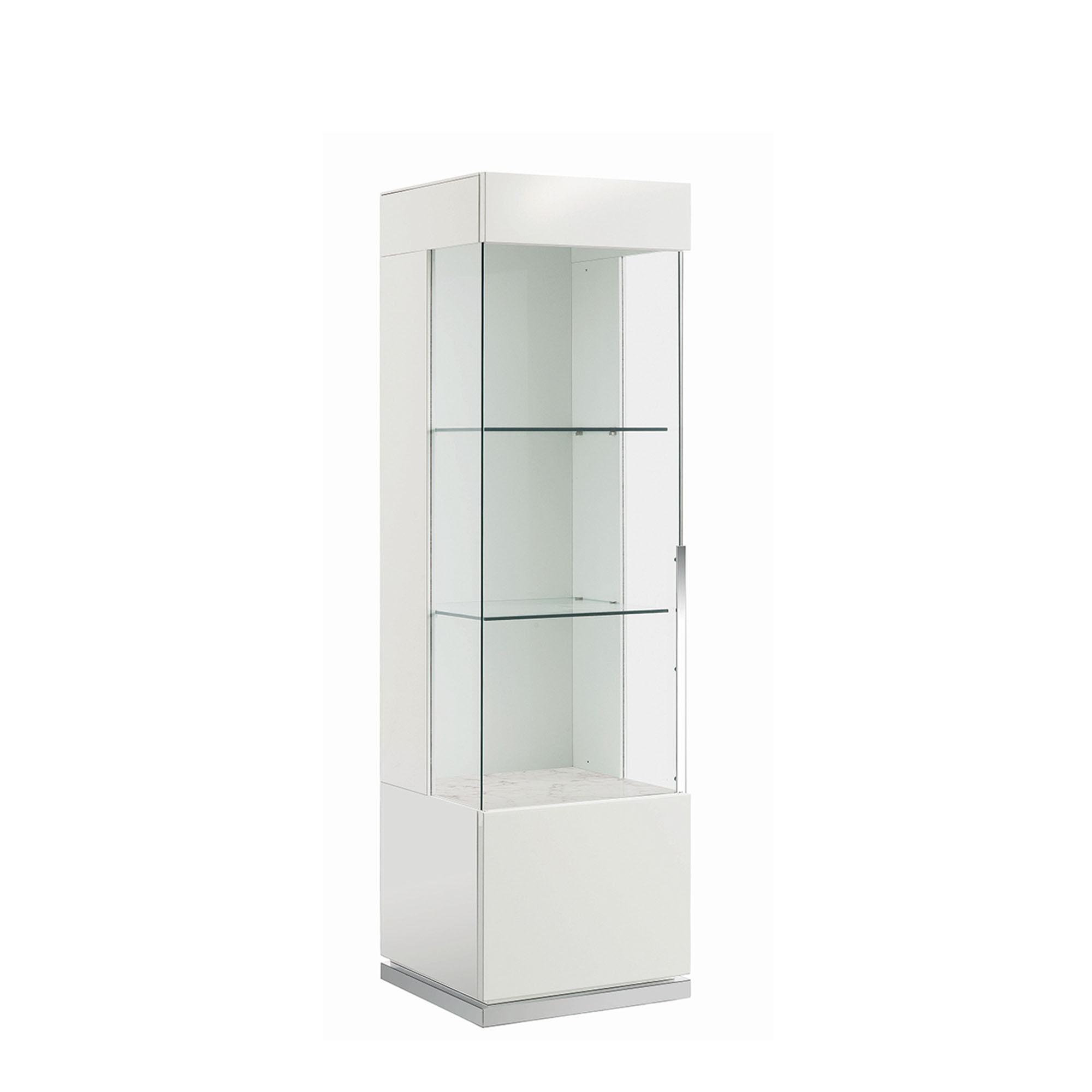 Bernini 1 Door Left Curio Cabinet White High Gloss Display Cabinets Fishpools