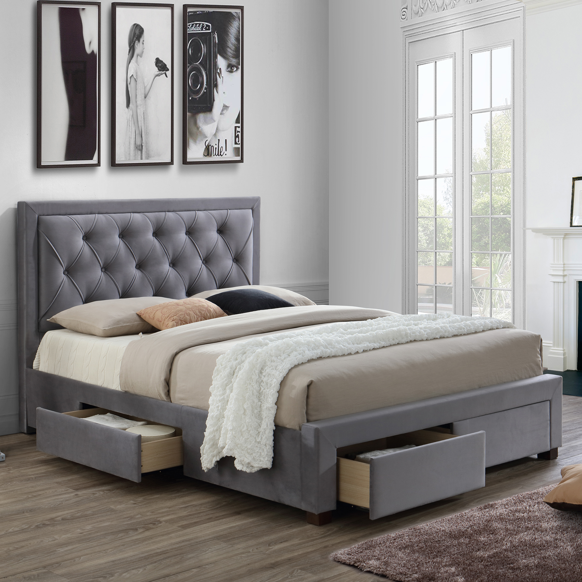 Lumburn - Slatted Storage Bed Frame In Grey Fabric - Bed ...