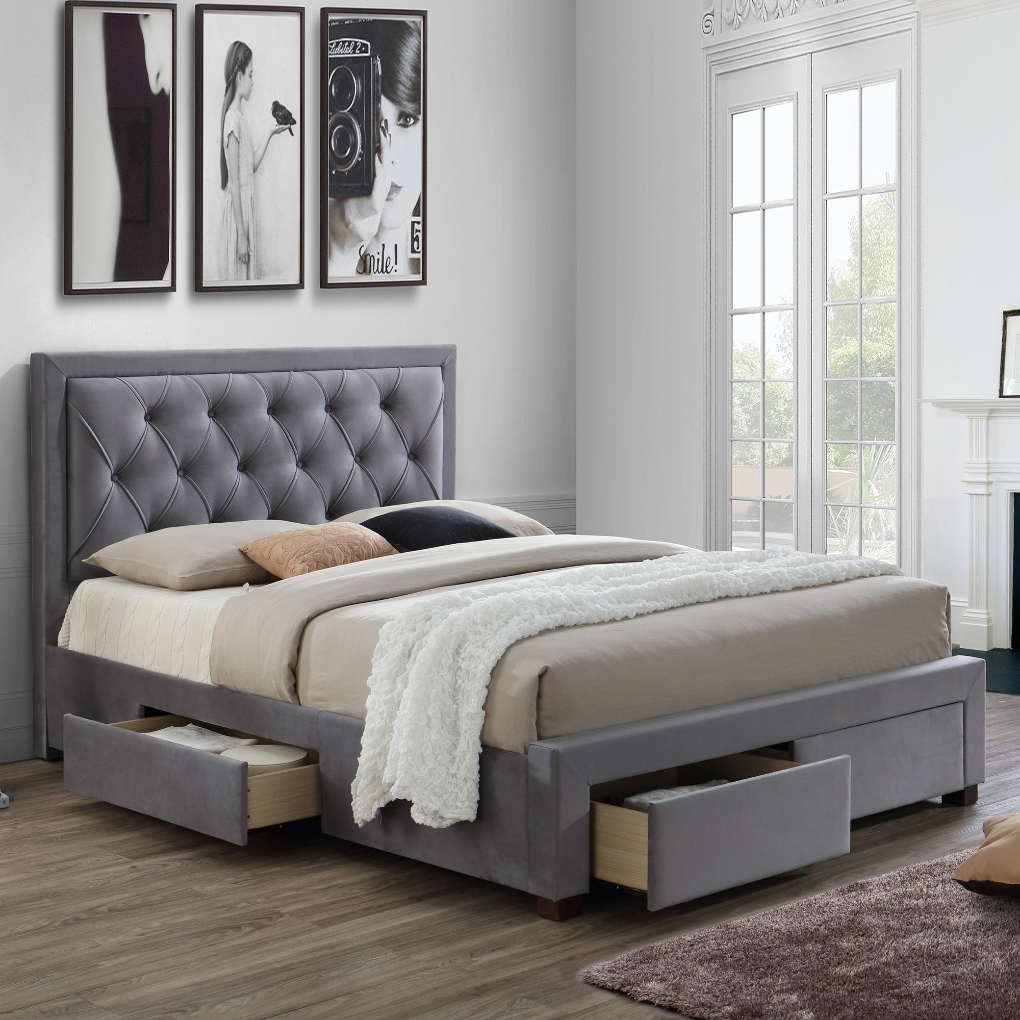 Lumburn Slatted Storage Bed Frame In Grey Fabric Bed Frames Fishpools