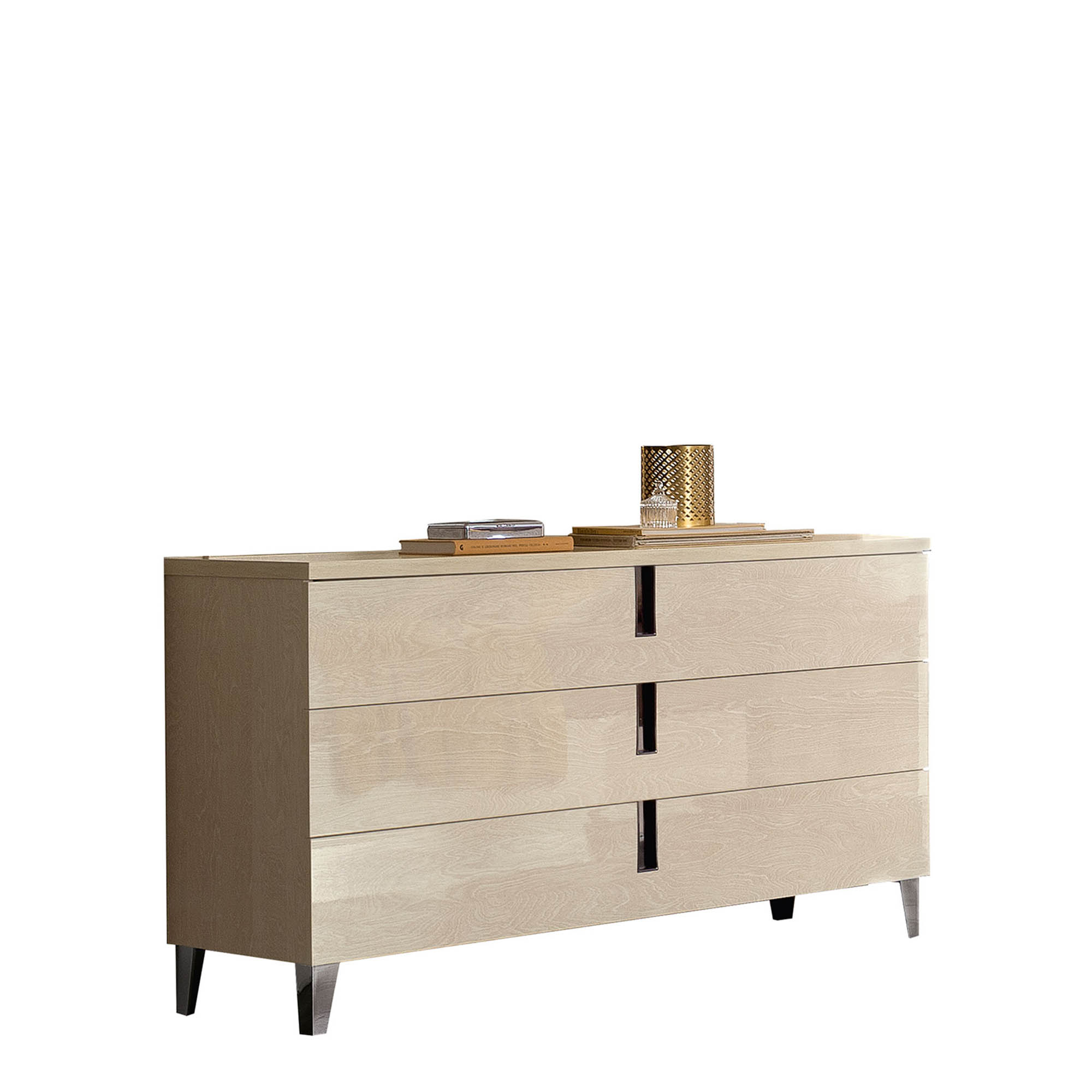 Venice Single Dresser 3 Drawers High Gloss Cream Lacquer Bedroom Chests Fishpools