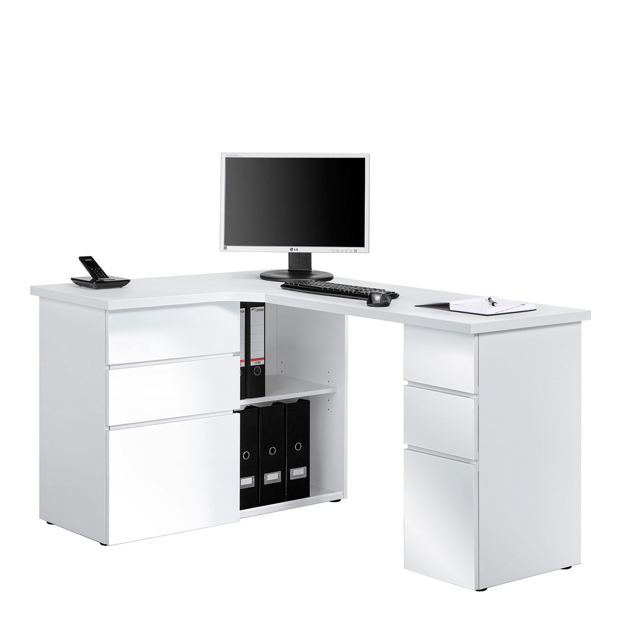 Corner Computer Desk In Icy White With White High