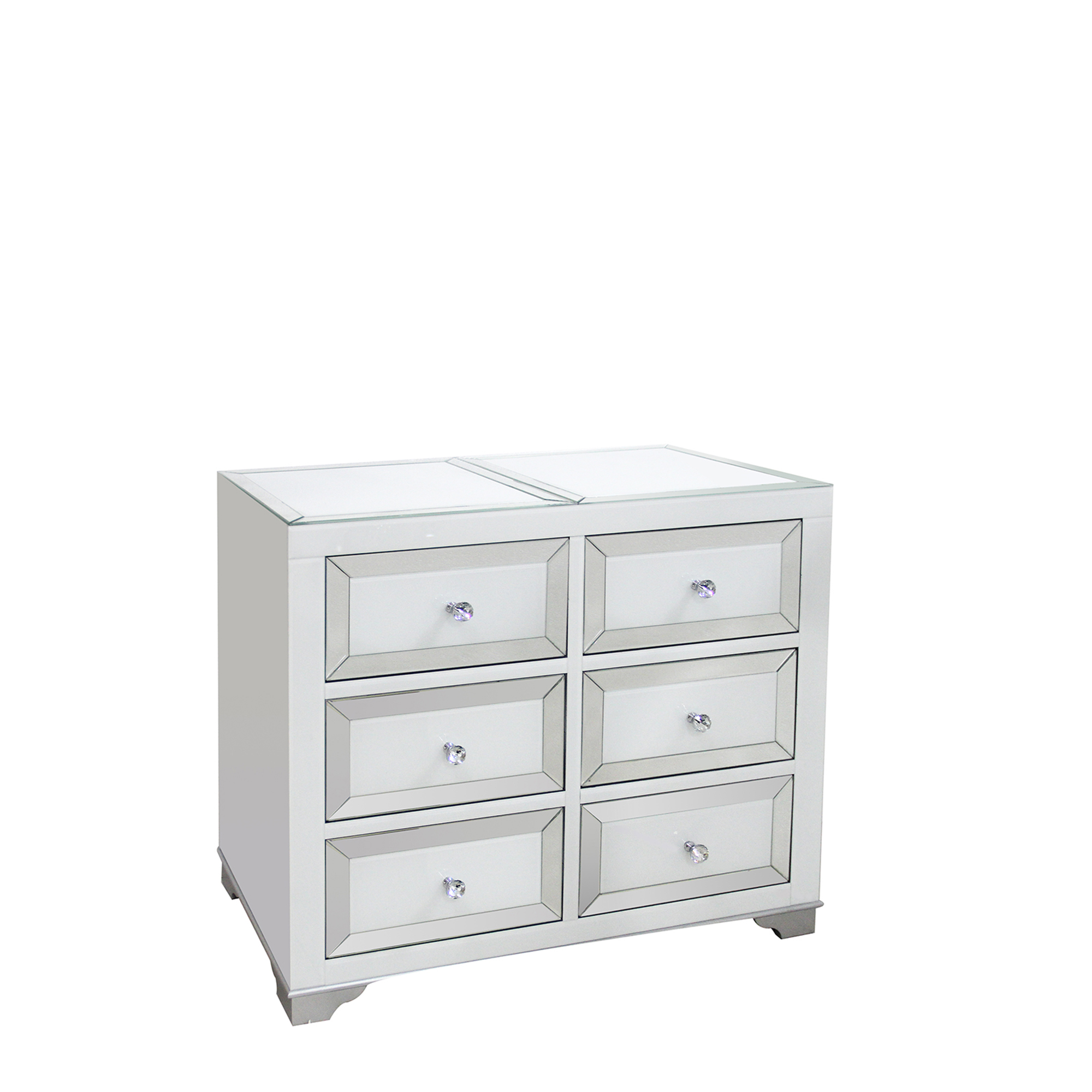 Bianca 6 Drawer Wide Chest Mirrored Silver White Bedroom Chests Fishpools