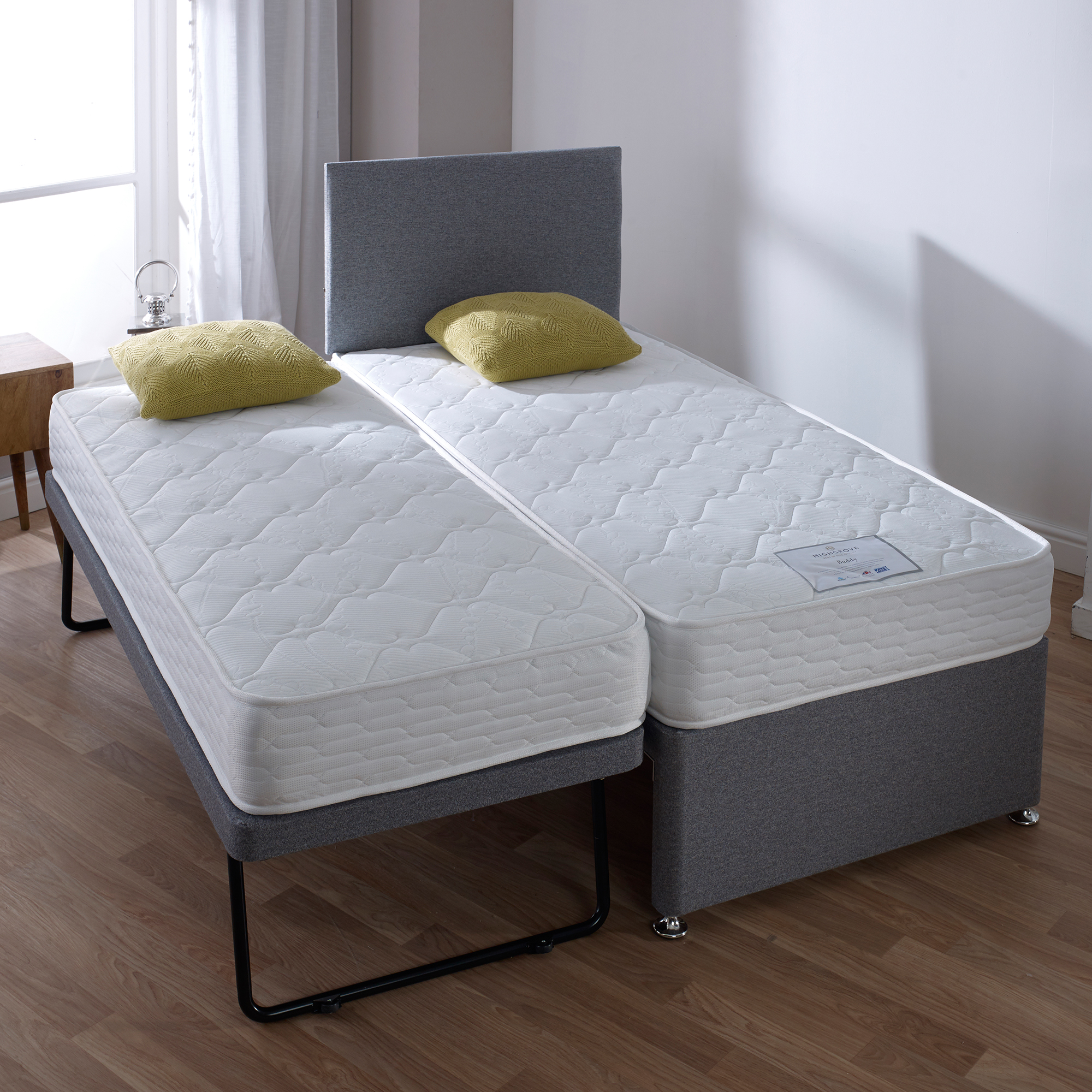 Picture of: Buddy Guest Bed Guest Bed Inc 2 X Open Coil Memory Matts In Plain Grey 90cm Divan Beds Fishpools