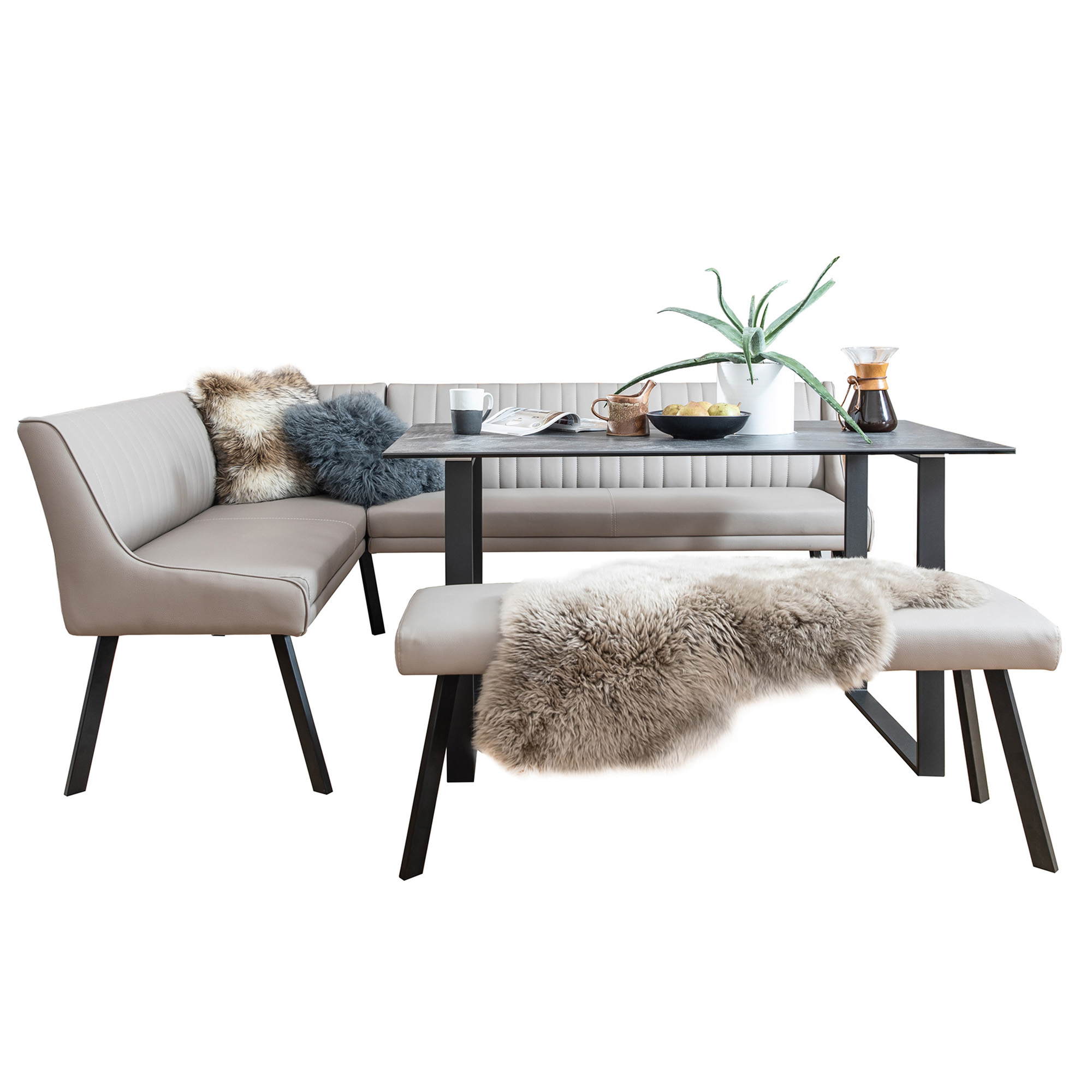 Livorno Dining Set Comprising Of 135cm Dining Table Rhf Corner Bench In Taupe Bench In Taupe Dining Table Sets Fishpools