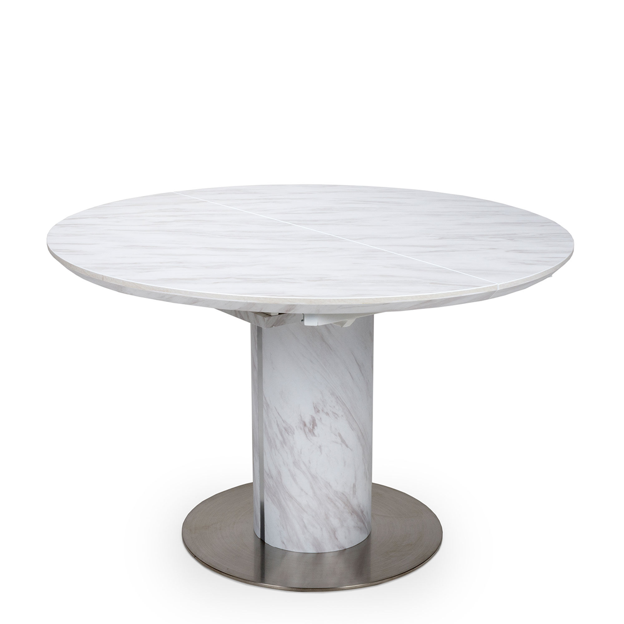Arbor   9cm Round Extending Dining Table White Marble Effect Top