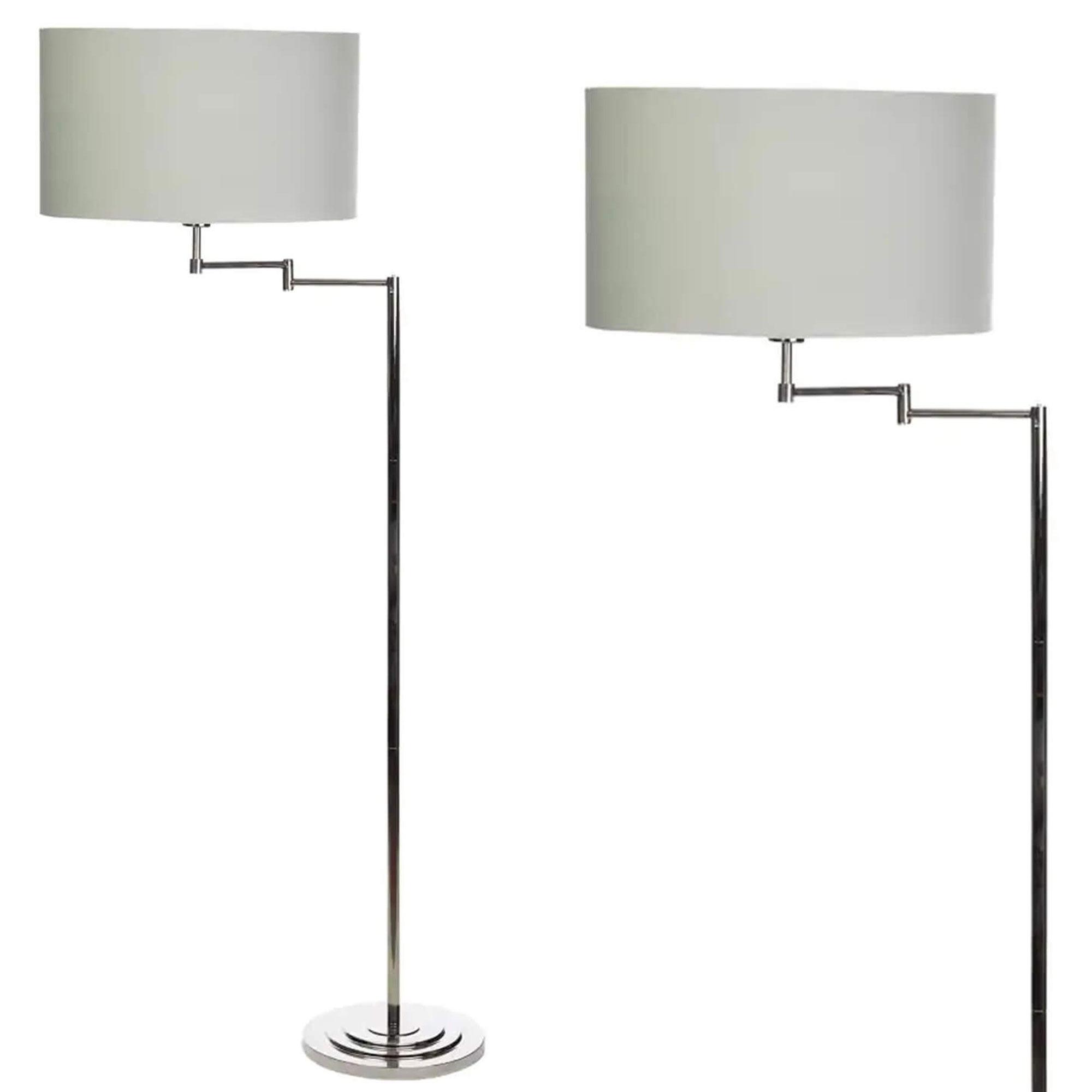 La Collection Marlowe Swing Arm Floor Lamp Polished Nickel Grey All Lighting Fishpools