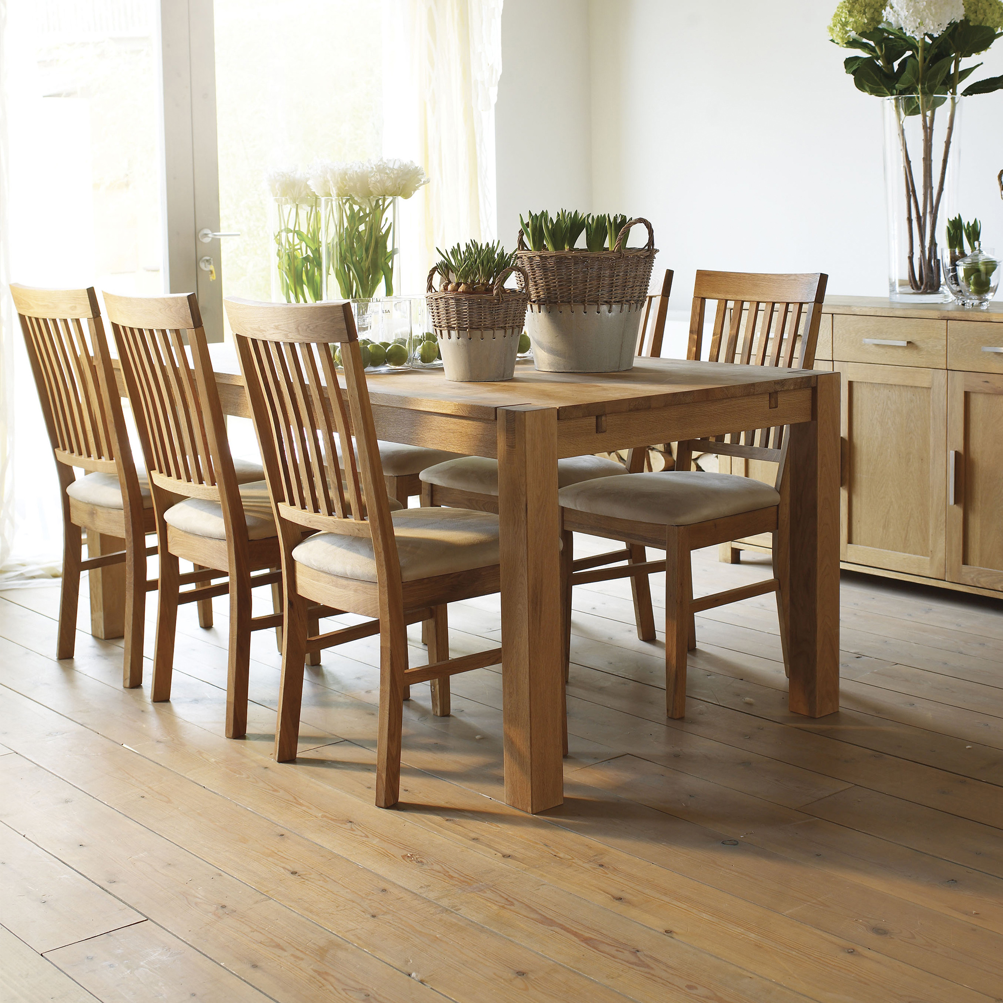 Royal Oak Oak Dining Table And 6 Chairs Fabric Fishpools