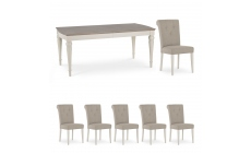 Chateau - 180cm Extending Table & 6 Fabric Chairs In Grey Washed Oak & Soft Grey