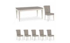 Chateau - 180cm Extending Table & 6 Bonded Leather Chairs In Grey Washed Oak & Soft Grey