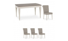 Chateau - 140cm Extending Table & 4 Bonded Leather Chairs In Grey Washed Oak & Soft Grey