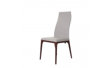 Cattelan Italia Arcadia - Dining Chair High Back Soft Leather And Walnut Legs