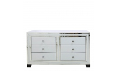 Madison - 6 Drawer Cabinet White Clear & Mirror Finish