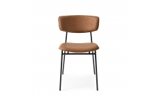 Calligaris Fifties - CS/1854-V Dining Chair In S0B Tobacco Fabric With P15 Matt Black Frame