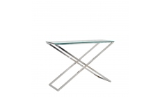 Trento - Console Table With Clear Glass Top/Stainless Steel