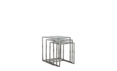 Trento - Nest Of Three Tables With Clear Glass Top/Stainless Steel Legs