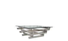 Trento - 105cm Sqaure Coffee Table With Clear Glass Top/Stainless Steel