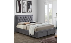 Lumbar - Slatted Storage Bedframe In Grey Fabric Super King - 192 x 250.5cm