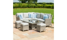 Oyster Bay - Corner Garden Dining Set with Rising Table Including Ice Bucket - Light Grey Rattan