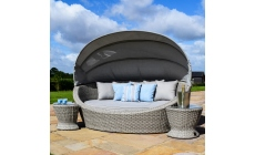 Oyster Bay - Round Daybed Light Grey Rattan Garden Set