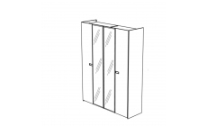 Venice - 4 Door Center Mirrored Doors Hinged Wardrobe High Gloss Cream Lacquer
