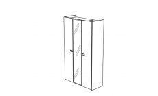 Venice - 3 Door Center Mirrored Doors Hinged Wardrobe High Gloss Cream Lacquer