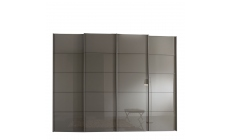Hilton - 330cm Sliding-Door Wardrobe With 4 Glass Doors In Havana Finish