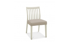 Bremen - Low Slat Back Dining Chair In Washed Grey With Grey Bonded Leather