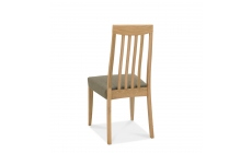 Bremen - Slat Back Dining Chair In Oak Finish With Black Gold Fabric