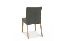 Bremen - Upholstered Dining Chair In Black Gold Fabric With Oak Finish