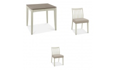 Bremen - 2-4 Extending Dining Table In Grey Washed Oak With Soft Grey Finish & 2 Low Slat Back Chair