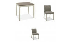 Bremen - 80cm Extending Dining Table In Grey Washed Oak With Soft Grey Finish & 2 Upholstered Chairs