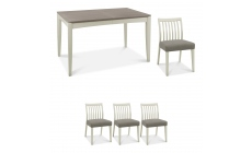 Bremen - 4-6 Extending Dining Table In Grey Washed Oak With Soft Grey Finish & 4 Low Slat Back Chair
