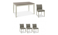 Bremen - 130cm Extending Dining Table In Grey Washed Oak With Soft Grey Finish & 4 Upholstered Chair