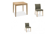Bremen - 80cm Extending Dining Table In Oak Finish & 2 Upholstered Chairs In Black Gold