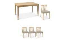 Bremen - 4-6 Extending Dining Table In Oak Finish & 4 Low Slat Back Chairs In Grey Bonded Leather