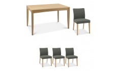 Bremen - 4-6 Extending Dining Table In Oak Finish & 4 Upholstered Chairs In Black Gold Fabric