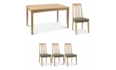 Bremen - 4-6 Extending Dining Table In Oak Finish & 4 Slat Back Chairs In Black Gold Fabric