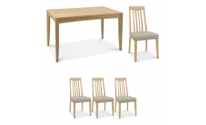 Bremen - 4-6 Extending Dining Table In Oak Finish & 4 Slat Back Chairs In Grey Bonded Leather