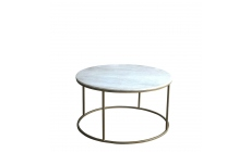 Surat - Brass And Marble Circular Coffee Table