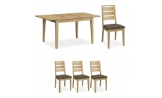 Kenwood - Compact Extending Dining Table With 4 Ladder Back Dining Chairs