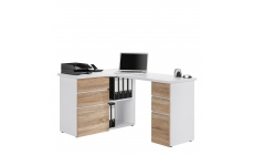 Alpha - Corner Computer Desk In Icy White With Sonoma Oak