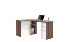 Alpha - Corner Computer Desk In Truffle Oak With White High Gloss