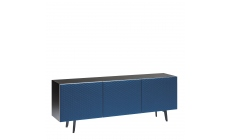 Cattelan Absolut - 3 Door Sideboard In GF69 Graphite Structure & Soft Leather Doors