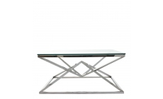 Rhombus - Coffee Table With Clear Glass Top Stainless Steel Frame