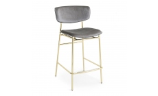 Calligaris Fifties - CS/1864 Barstool Polished Brass Frame Seat Cover Ash Grey Fabric