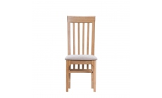 Suffolk - Slat Back Chair with Fabric Seatpad Oak Finish